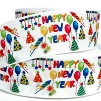 """GROSGRAIN RIBBON 7/8"""", 1.5"""" Happy New Year Christmas White Blue  Printed Gifts"""
