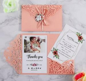 10set 5x7.2 inch Red Laser Cut Hollow Floral Wedding Invitations Cards Envelope