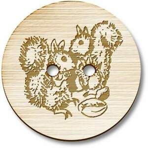 'Pair Of Squirrels' Wooden Buttons (BT011239)