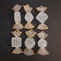 Set of 6 Large Venetian Murano Art Glass Candies Hangable Hand Blown Figurine