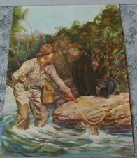 "Old 1950's Fly Fishing Trout Bear w/ cubs ""Whose Dinner Now"" Print 19"" by 14"""