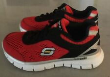 "SKECHERS ""Skech Knit"" Memory Foam Youth Red/Black Sneakers~~Size 12"
