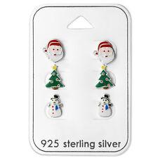 Sterling Silver Christmas Tree Santa Snowman Xmas Stud Earrings Children Women