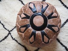 Set Of 2 Tan Moroccan Poufs, High Leather Quality, Ottoman - Unfilled