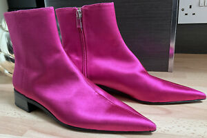 Zara Bright Pink Satin Ankle Boots Size Uk 4 Excellent Condition #sb