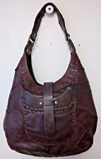 Vintage Lucky Brand Hippie Bag Brown Patchwork Leather Hobo Bag Pre-Owned