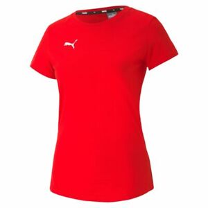 Puma Womens Ladies Sports Casuals Cotton Short Sleeve SS T-Shirt Tee Red