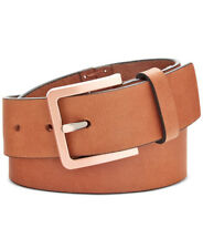 Calvin Klein Women's Brown Hand-stitch Lace-up Leather Belt, L