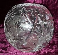 Clear cut crystal glass vintage Art Deco antique ball vase