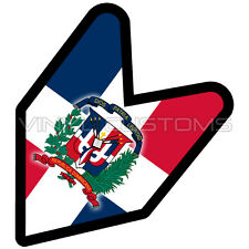 "Dominican Wakaba Leaf Flag Decal Sticker JDM - 4"" in."