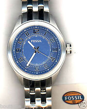 NWT Fossil BQ1038 Stainless Steel Silver Tone Bracelet Blue Dial Men's Watch