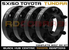 """4 Pc Toyota Tundra 1.25"""" Thick Black Hub Centric Wheel Spacers Adapters 14x1.5"""