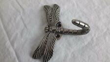 Dragonfly Bath Wall Hook Hanger Robe Towel Antique Pewter Silver Color - Single