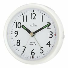 Acctim Ffion 15242 Stylish Non Ticking Sweep Alarm Clock In White (our ref4r)