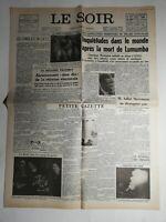 N487 La Une Du Journal Le Soir 15 février 1961 les syndicats en URSS