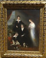 19th Century English Massey Family Of Poole Hall Cheshire Portrait & Dogs