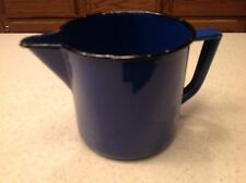 "Vintage Enamelware Pitcher Blue With Black Rim Trim Handled 3.5"" tall Minor Wear"