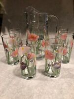 VINTAGE CLEAR GLASS w/FLOWER DESIGN PITCHER AND 6 MATCHING GLASSES - EUC