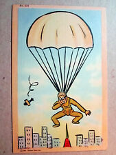 WWII Paratrooper Parachute From Plane 1941 Tichnor Bros Linen Postcard 1313