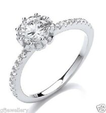 SOLID 925 HALLMARKED STERLING SILVER BRILLIANT CUT SOLITAIRE ENGAGEMENT RING