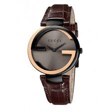 BRRAND NEW Gucci Interlocking-G Black Dial Brown Leather Ladies Watch YA133304