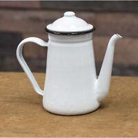 "White with Black Trim Enamelware 7.5"" Coffee Pot"