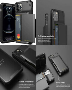 For iPhone 12/12 Pro Case Durable Drop Protection Wallet Card Holder Cover Black