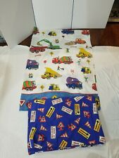 Cannon Bridgewater 2pc Work Ahead construction trucks TWIN Flat and Duvet Cover