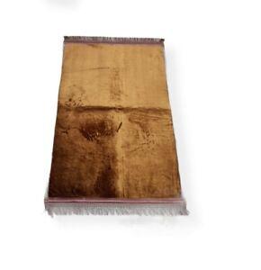 Brown Velvet Prayer Mat Thick Padded Non Slip Islamic Foam Janamaz