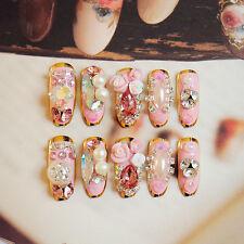 Pink Style Long False Nails 24pcs High Quality Rhinestones Bride Nail Art Tips
