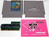 Commando NES AUTHENTIC Comando original Nintendo 5 screw Game with Manual Book