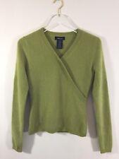 Willi Smith Women Sweater Lime Green Cashmere Blend Medium V Neck