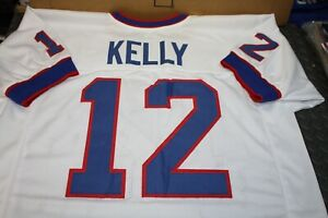 JIM KELLY #12 SEWN STITCHED WHITE ROAD THROWBACK JERSEY SIZE XL HOF 2002