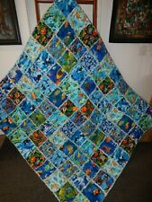 Under the Sea Xl Rag Quilt Throw Tropical Fish Dolphins Turtles Whales -Hm New
