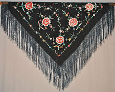 1920's SPANISH PIANO SHAWL MACHINE EMBROIDERED FLORALS FRINGED