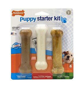 Nylabone Puppy Starter Kit Puppybone / Edible Bacon /Dura Chew Chicken Flavor
