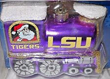 LA. STATE LSU TIGERS GLASS TRAIN ORNAMENT WITH SANTA ON 1 SIDE, RUDOLPH ON OTHER