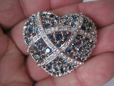 Clear Crystal or Cz Stones Estate Silver-Tone Heart-Shaped Brooch, Blue &