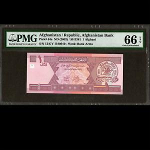 Da Afghanistan Bank 1 Afghani 2000 SH1381 PMG 66 GEM UNCIRCULATED P-64a