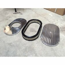 """15"""" Aluminum Oval GM Finned Air Cleaner Filter fits edelbrock holly carburator"""