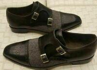 Scarpe con fibbia doppio cinturino in vera pelle e tessuto neri da uomo fatti