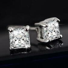 Quality Luxury Women & Men Solid Diamond Crystal Square Stud Earrings Beaut N0X2