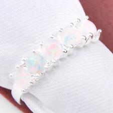Amzing Shiny Round Cut Rainbow White Fire Opal Gemstone Silver Rings Size 7
