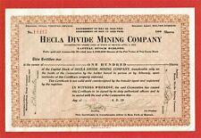 HELCA DIVIDE MINING COMPANY, TONOPAH NEVADA, 1922 NEVADA STOCK CERTIFICATE