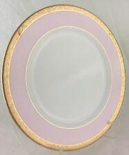 DINNER PLATE PINK,WHITE,GOLD RIM DINNERWARE