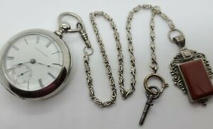 Antique 1880 ILLINOIS 'Miller' 15J RR Key Wind Silver Pocket Watch w/Chain 18s