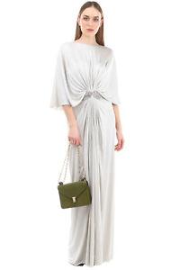 RRP €3935 REEM ACRA NEW YORK Satin Silk Draped Gown Size 14 / 3XL Rhinestone