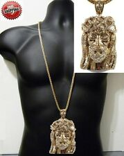 """Jesus Piece Pendant 14k Gold Finish Hip Hop Iced Out + 36"""" Franco Chain Crystal"""