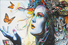 A1 SIZE canvas  PRINT URBAN PRINCESS modern  butterfly GRAFFITI STREET POP ART