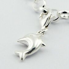 Leaping Dolphin Clip on Charm Smooth Shiny Stering Silver Pendant
